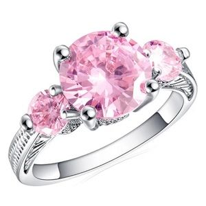 White Gold Plated Pink CZ Ring